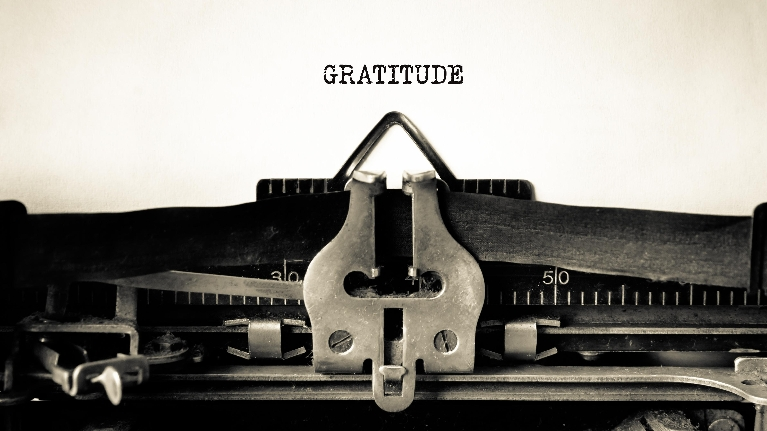 gratitude, giving thanks, typewriter